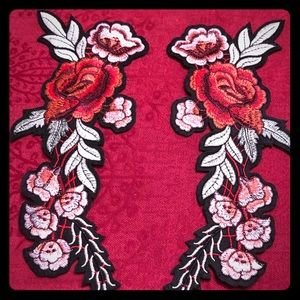 2 Embroidered Rose Fliower Sew on/Iron-on Patches